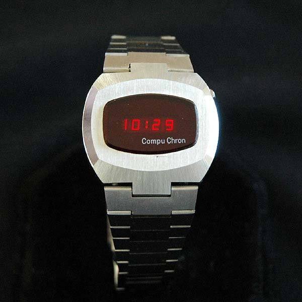 vintage LED watch NOS STAINLESS STEEL COMPUCHRON