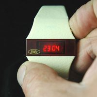 vintage LED watch NOS SHARP (brand) WHITE DOW 12/24 TIME,